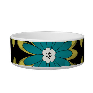 Modern Teal and Green Flower Pattern Pet Bowl