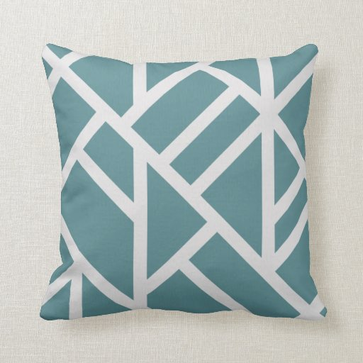 Modern Teal and White Abstract Stripes Throw Pillow Zazzle