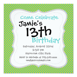 Modern Teal and Yellow Check Pattern Invitations