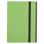 Modern Teal and Yellow Check Pattern iPad Cases