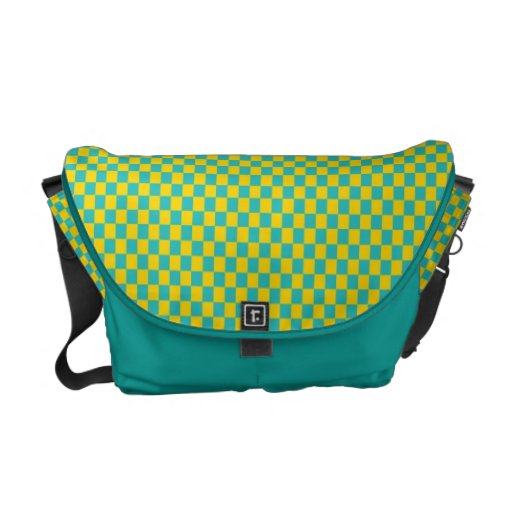 Modern Teal and Yellow Check Pattern Messenger Bag