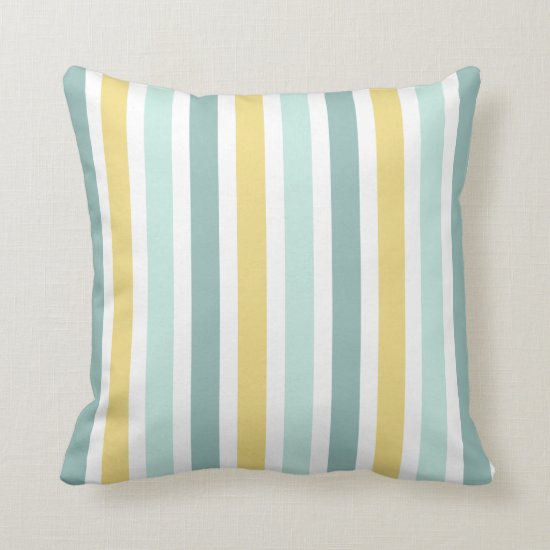 Modern Teal Aqua Gold Stripes Pattern Throw Pillow