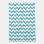 Modern Teal Blue and White Chevron Zigzag Pattern Kitchen Towels