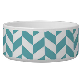 Modern Teal Blue and White Hip Striped Pattern Bowl