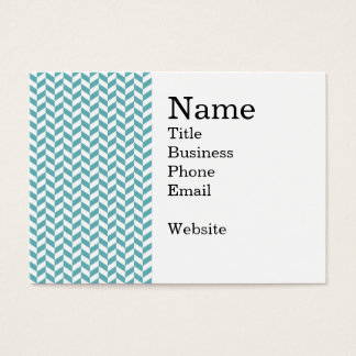 Modern Teal Blue and White Hip Striped Pattern Business Card
