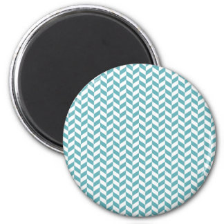 Modern Teal Blue and White Hip Striped Pattern Magnet
