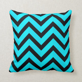 Modern Teal Blue Black Chevron Geometric Stripe Throw Pillow