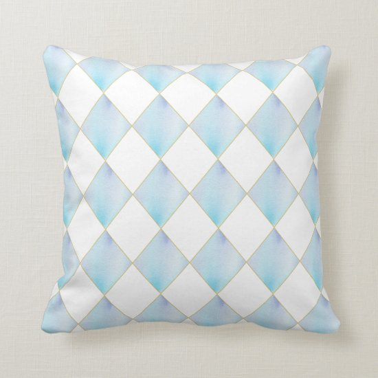 Modern Teal Blue Gold Diamond Shapes | Throw Pillow