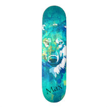 Modern teal blue green watercolor wolf skateboard