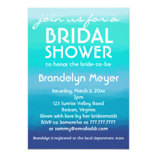 Modern Teal Blue Ocean Bridal Shower Invitations