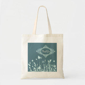 Modern Teal Blue Rustic Country Wedding Budget Tote Bag