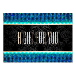 Modern Teal & Blue Sequin Gift Certificate Chubby Business Cards