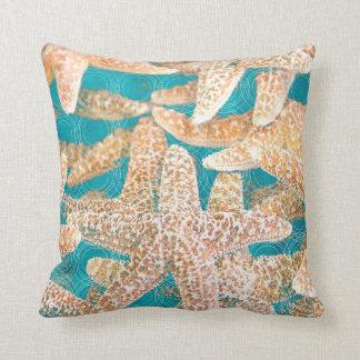 Modern Teal Blue Starfish Throw Pillow