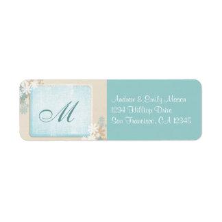 Modern Teal Blue & Tan Floral Monogram Address Lab Label