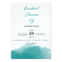 Modern Teal Blue Watercolor Bridal Shower Invite