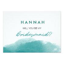 Modern Teal Blue Watercolor Script Bridesmaid Card
