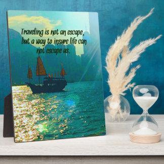 Modern Teal Bokah Travel Quote Landscape Plaque
