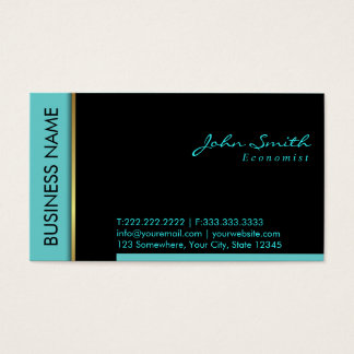 Modern Teal Border Economist Business Card