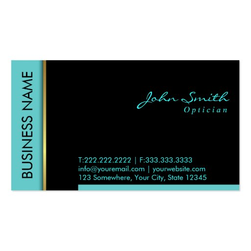 Modern Teal Border Optician Business Card (front side)