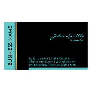 Modern Teal Border Songwriter Business Card