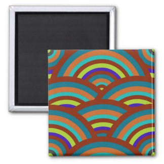 Modern Teal Brown Blue Rainbow Stripes Pattern Magnet