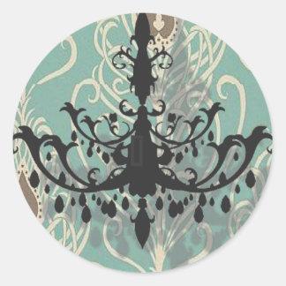 modern Teal Chandelier vintage peacock Wedding Classic Round Sticker