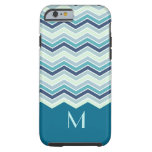 Modern Teal Chevron Stripes Monogram Tough iPhone 6 Case