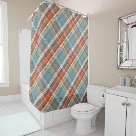Modern Teal Dark Blue Orange White Plaid Pattern Shower Curtain