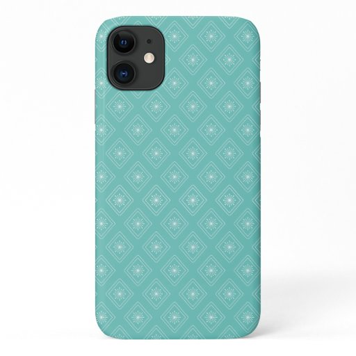 Modern Teal Diamond Snowflake pattern iPhone 11 Case