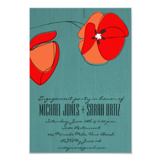 Modern Teal Floral Engagement Party Invitation