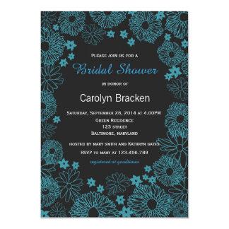 Modern Teal Flowers Border Bridal Shower Invite