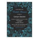 Modern Teal Flowers Border Bridal Shower Invite Cards