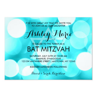 Modern Teal Glitter Lights Bat Mitzvah Invitations