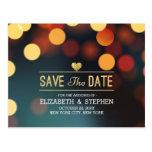 Modern Teal Gold Bokeh Light Wedding Save The Date Postcard
