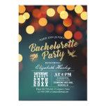 Modern Teal Gold Bokeh Lights Bachelorette Party Card