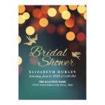 Modern Teal Gold Sparkle Bokeh Light Bridal Shower Card