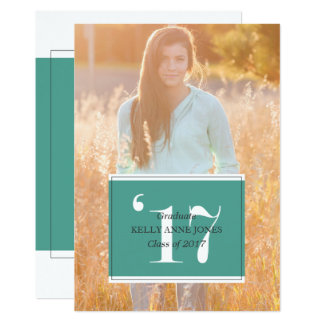 Modern Teal Graduation Invitations
