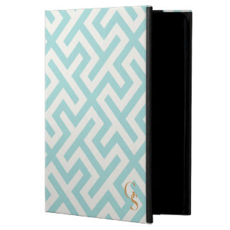 Modern teal greek key geometric patterns monogram iPad air cover