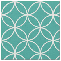 Modern Teal Green and White Circle Diamond Pattern Fabric