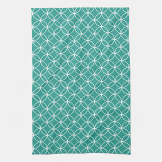 Modern Teal Green and White Circle Diamond Pattern Towels