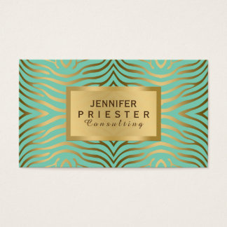 Modern Teal-Green & Gold Zebra Stripes Pattern Business Card
