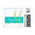 Modern Teal Green Monogram Thank You Postage Stamps