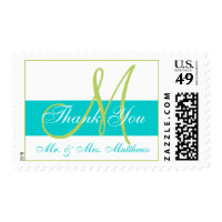 Modern Teal Green Monogram Wedding Thank You Postage