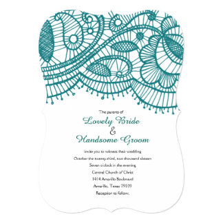 Modern Teal Lace Whimsical Wedding Invitations