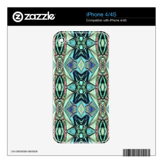 Modern Teal Lilac Peach Artistic Pattern Skins For iPhone 4S