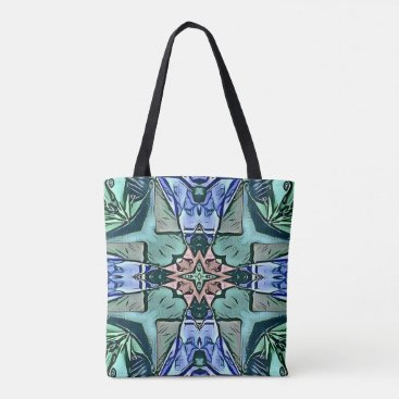 Beach Themed Modern Teal Lilac Peach Artistic Pattern Tote Bag