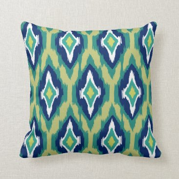 Aztec Themed Modern teal navy lime white Ikat Tribal Pattern 1a Throw Pillow