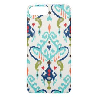Modern teal navy red ikat tribal pattern iPhone 7 plus case