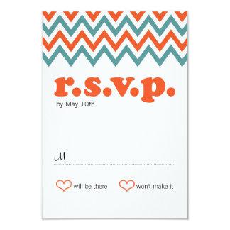Modern Teal & Orange Chevron & Lovebirds Wedding Card