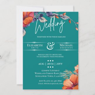 Modern Teal Orange Floral Wedding Invite